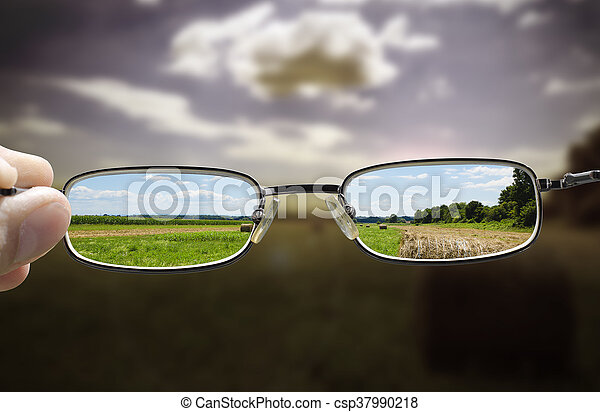 glasses turn gloomy day into sunny - csp37990218