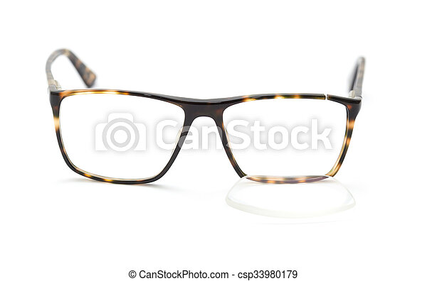 Glasses with broken frame. Glasses with broken brown frame isolated ...
