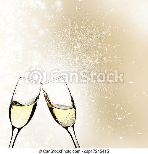Glasses with champagne against holiday lights - csp17245415