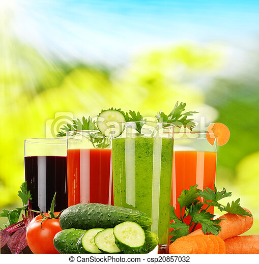 Glasses with fresh vegetable juices. Detox diet - csp20857032
