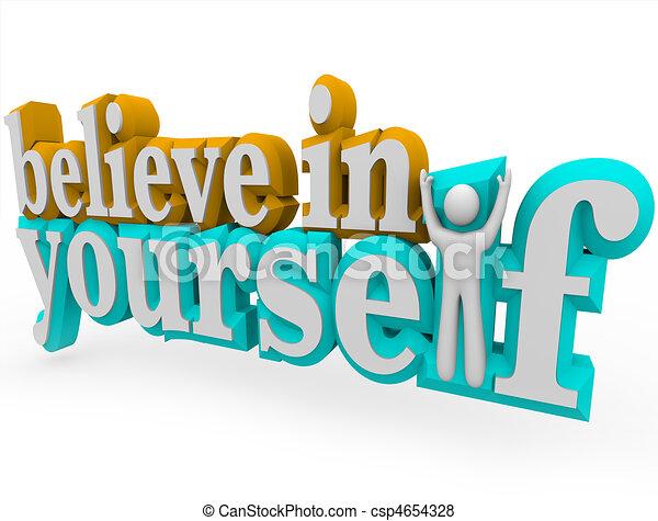 Glauben Sie an sich - 3D Worte - csp4654328