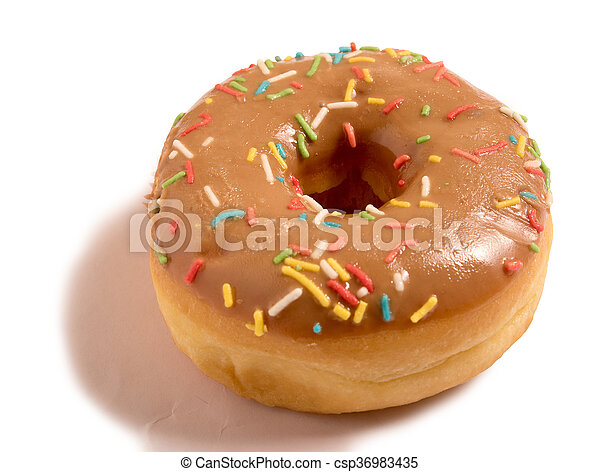 glazed donut with sprinkles isolated on white background - csp36983435