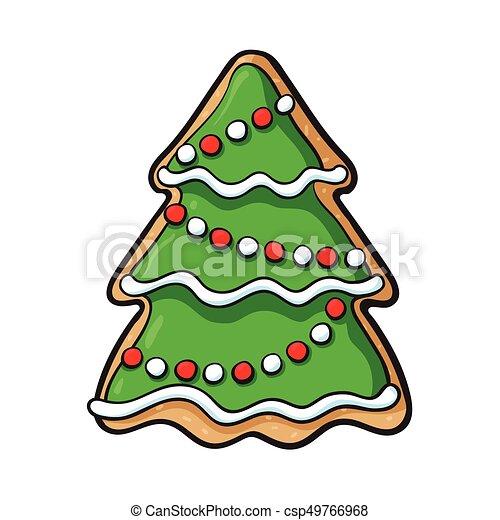 Gingerbread Christmas Tree.Glazed Homemade Christmas Tree Gingerbread Cookie