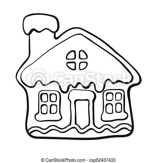 Christmas Gingerbread House Drawing.Glazed House Shaped Christmas Gingerbread Cookie