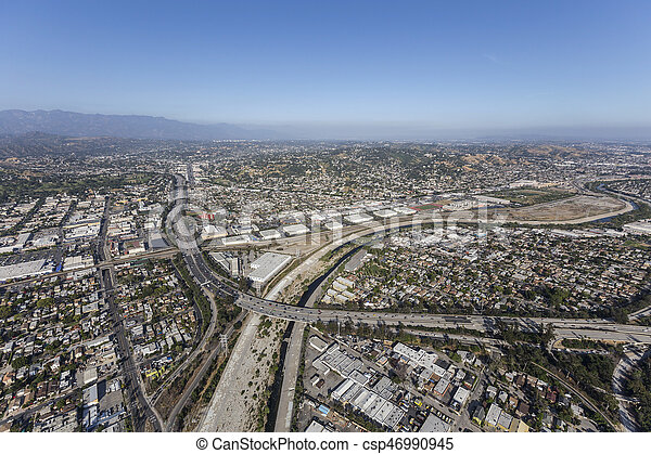 Glendale Freeway at the Los Angeles River - csp46990945