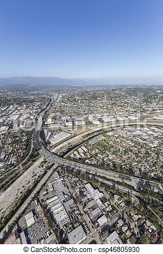 Glendale Freeway Crossing Los Angeles River - csp46805930