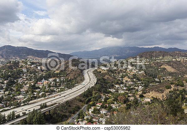 Glendale Neighborhoods and Freeway near Los Angeles California - csp53005982