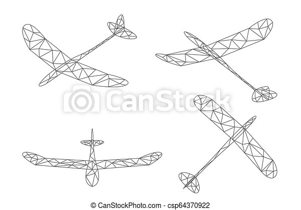 Glider plane and cloud wireframe low polygon set, Editable stroke design  illustration isolated on white background, vector eps 10