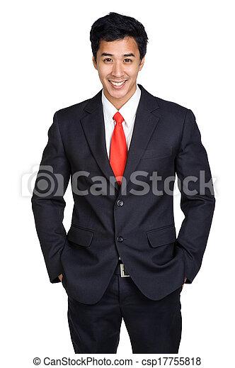 glimlachen, man, vrijstaand, kostuum - csp17755818