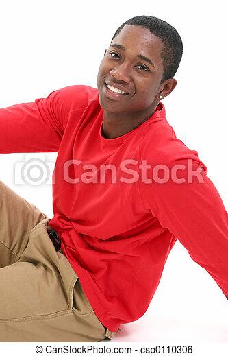 glimlachen, ongedwongen, man - csp0110306