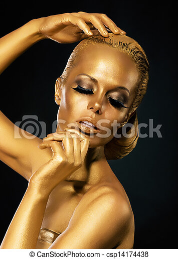 Glint. Coloring. Mysterious Woman with Golden Faceart. Creative Concept - csp14174438