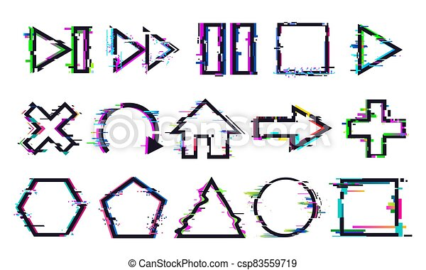 Glitch buttons. Music and game control icons with distorted effect. Play, stop or pause and rewind, refresh - csp83559719