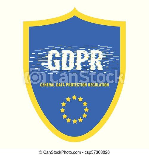 glitch, gdpr, escudo, cartaz - csp57303828