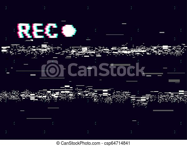 Glitch old camera rec on black background  VHS concept  Retro record  effect  Abstract noise distortion with glitched lines  No signal television  and