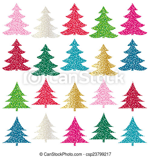 stock illustration glitter christmas trees - Glitter Christmas Tree
