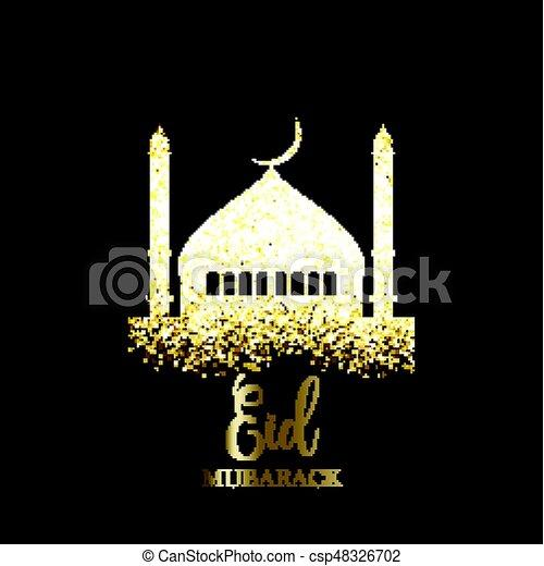 Glitter Eid Mubarak background - csp48326702