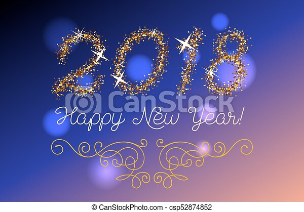 Glitter gold lettering happy new year invitation vector clipart glitter gold lettering happy new year invitation csp52874852 stopboris Image collections