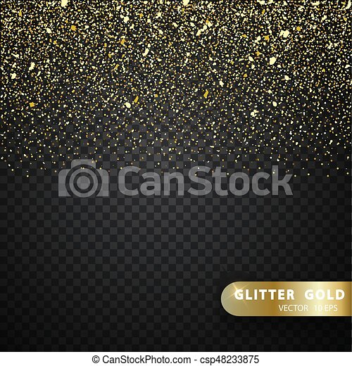 Glitter gold particles light shine effect on transparent vector background - csp48233875