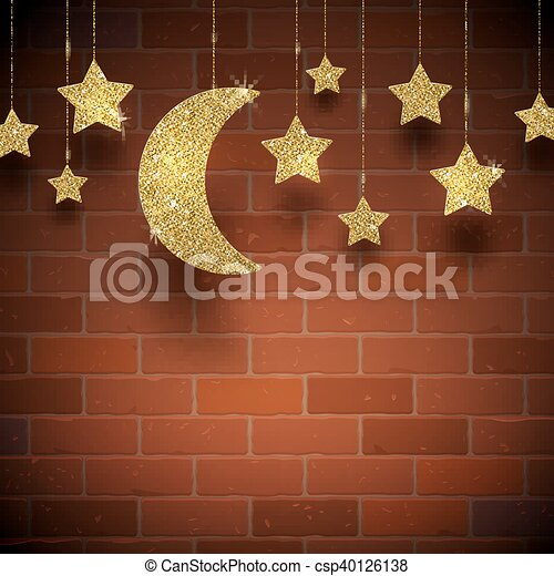 Glitter gold stars and moon - csp40126138