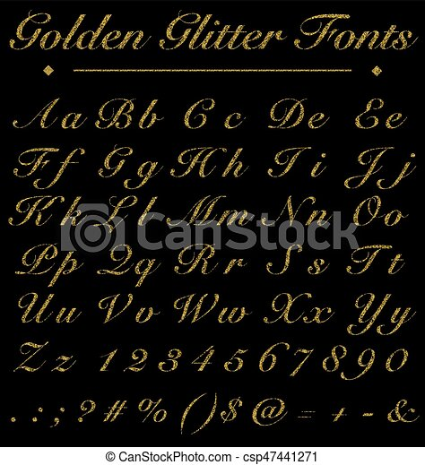 Realistic luxury glitter golden handwritten fonts alphabet number glitter golden handwritten fonts alphabet number on black background fonts concept csp47441271 thecheapjerseys Images
