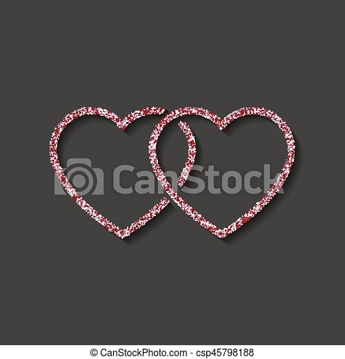Glitter Icon Double Red And White Heart Logo Love Symbol Use In