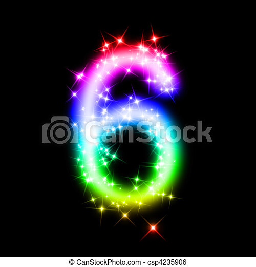 Glitter Number 6 3d Rendered Illustration Of A Rainbow