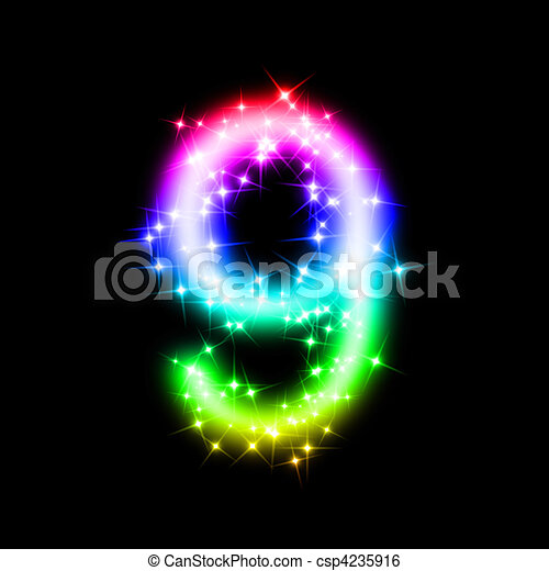 9 >> Glitter Number 9 3d Rendered Illustration Of A Rainbow Number