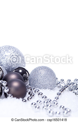 glitter silver christmas baubles decoration holidays isolated - csp16501418