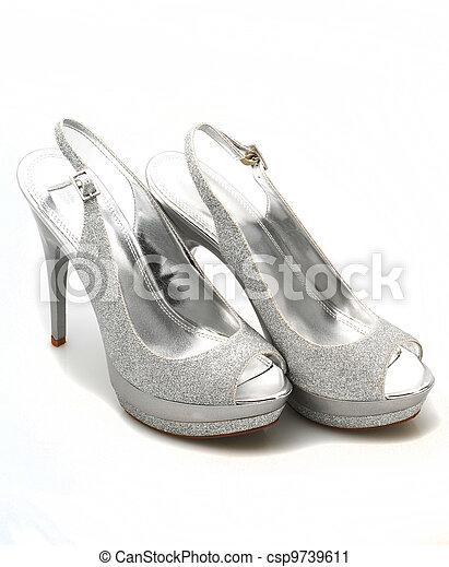 glitter, silver, skor