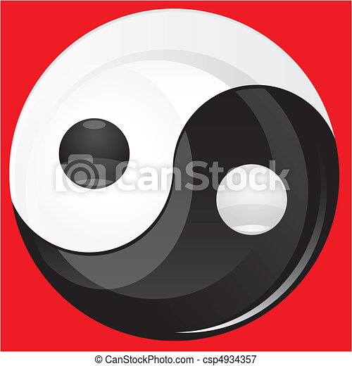 Glitter Yin yan black and  white sign isolated on red, vector illustration - csp4934357