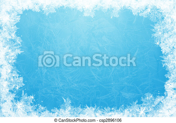 Glittering ice frame. Gleaming shining ice frame, in the center of ...