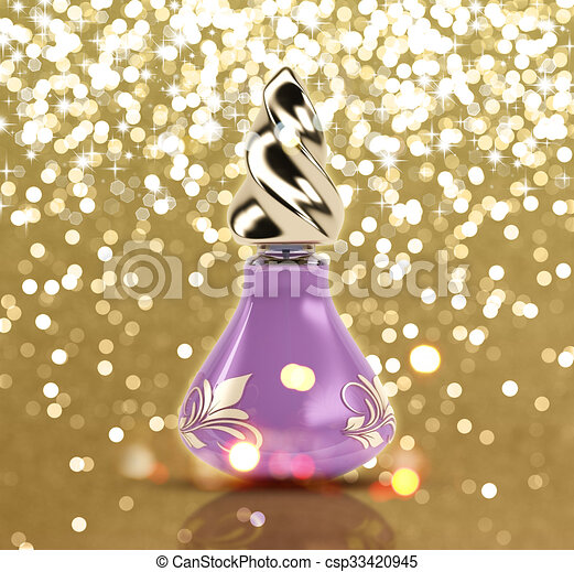 Glittery gold background with 3D perfume bottle - csp33420945