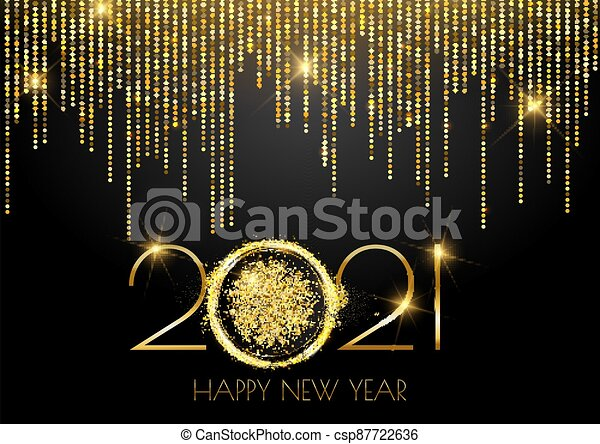 Glittery gold sparkle Happy New Year background - csp87722636