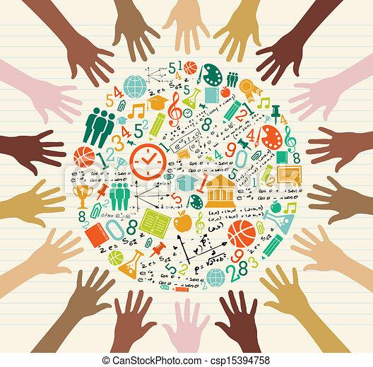 globális, oktatás, emberi, hands., ikonok - csp15394758