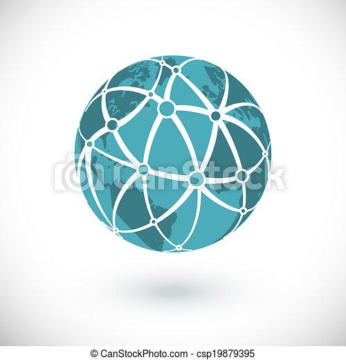 globaal net, pictogram - csp19879395