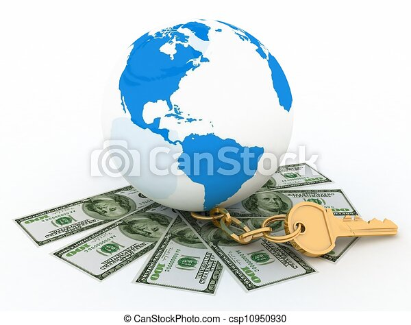 Global and cash money, the world of finance. 3d rendered illustration. - csp10950930