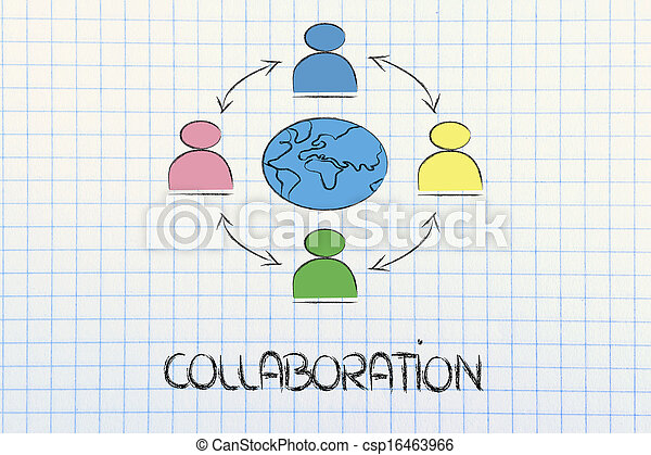 global business communication, people connected across globe - csp16463966
