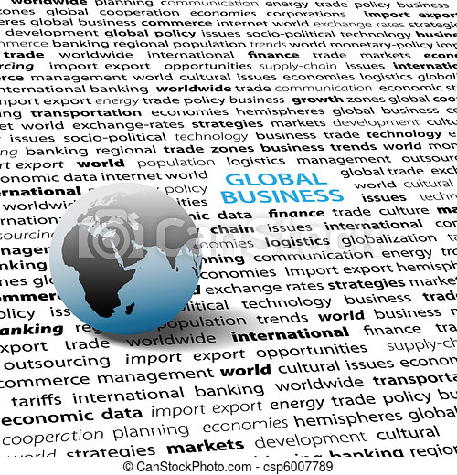 Global business issues world globe text page - csp6007789