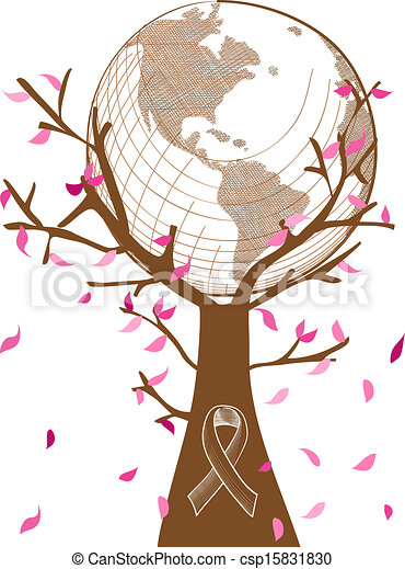 Global collaboration breast cancer awareness concept tree illustration with leaves and ribbon symbol. EPS10 vector file with transparency organized in layers for easy editing. - csp15831830