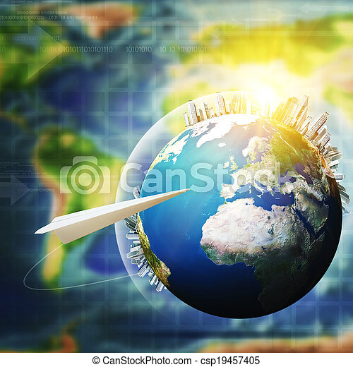 Global communications. Abstract technology and transportation backgrounds - csp19457405