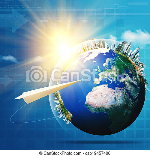 Global communications. Abstract technology and transportation backgrounds - csp19457406