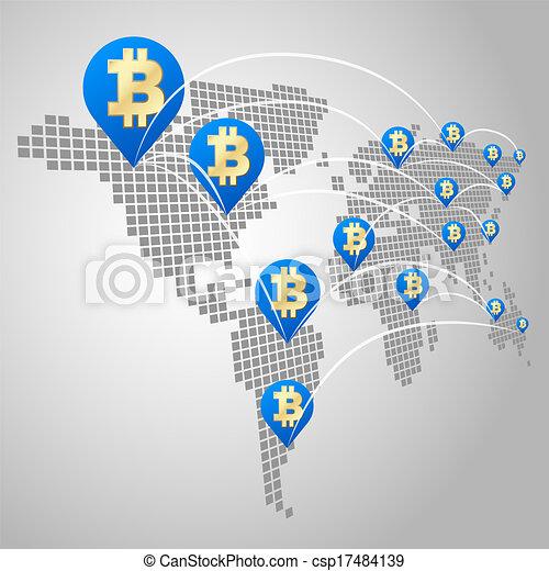 global, conceito, bitcoin, negócio - csp17484139