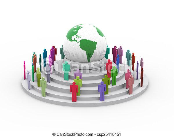 El concepto del pueblo global 3D - csp25418451
