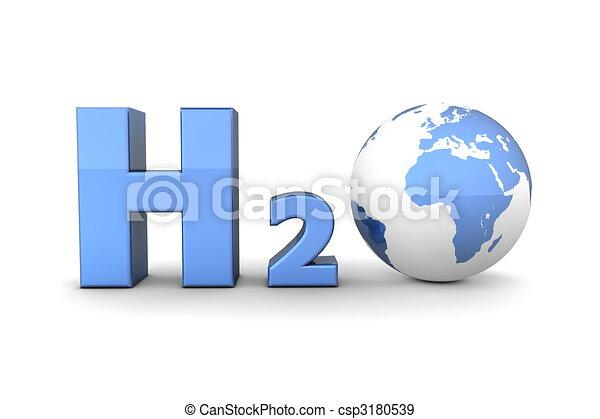 Global Hydrogen Oxide H2O - Shiny Blue - csp3180539