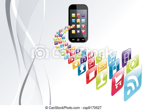 Global iphone apps icons tech background - csp9170527