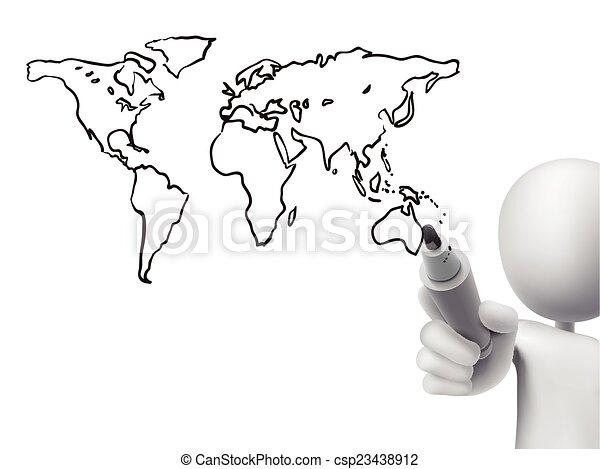 global map drawn by 3d man csp23438912