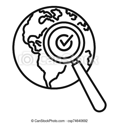 Global market search icon, outline style - csp74640692