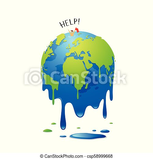 Global Warming Concept Map.Global Melting Concept Global Warming People Help In The Sea