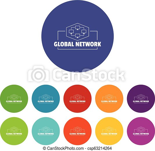 Global network icons set vector color - csp63214264