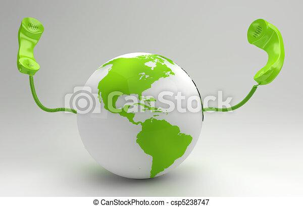 global, planet, begrepp, grön, telekommunikation - csp5238747